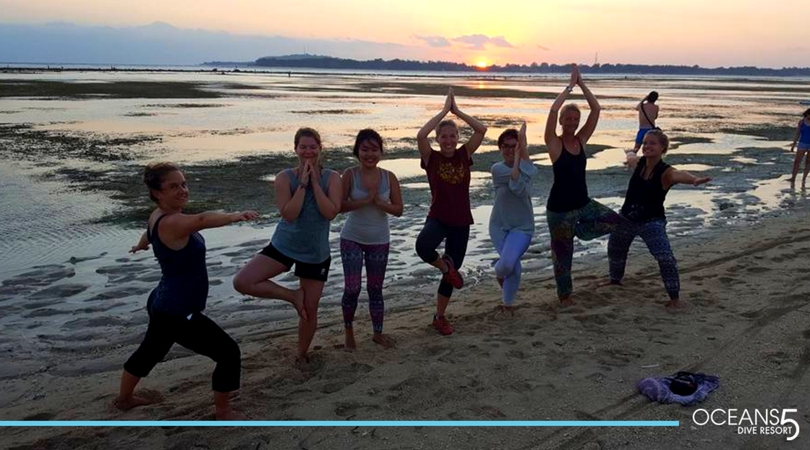 Yoga on the beach in Gili Air