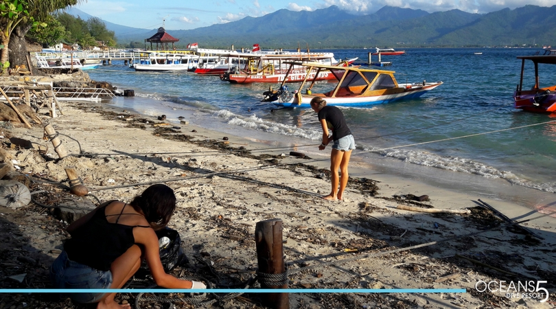 Cleaning the beach on Gili Air