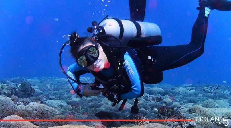 Megan diving in Gili Air