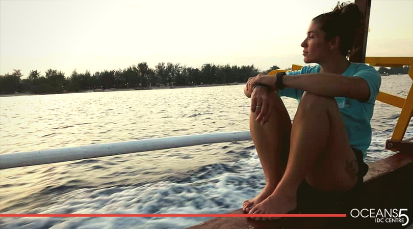 Megan staring our to sea on our dive boat