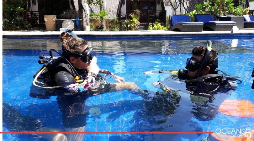 Megan and Sal teaching in the swimming pool