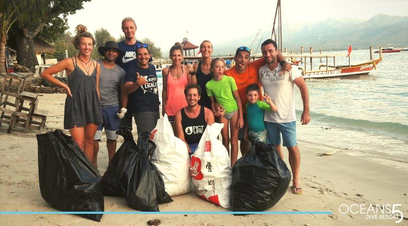 Beach clean up on Gili Air